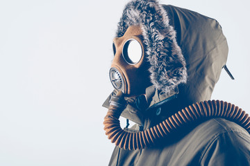Man with old gas mask