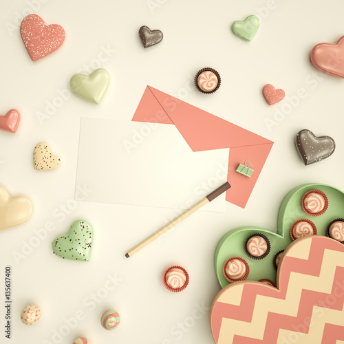 """""""Festive love card mock-up with pink envelope, flat lay ..."""