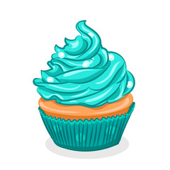 turquoise cupcake with cream isolated at the white background