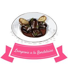 Lamproie a la Bordelaise colorful illustration.