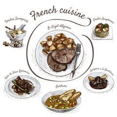 French menu colorful illustration.