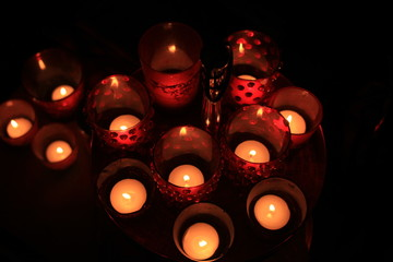 Red votives and candles