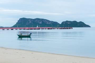 Landscape of fishing boats floating sea at Prachuap Khiri Khan province, Southern of Thailand