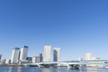 東京都市風景 豊洲大橋と晴海 高層ビル タワーマンション