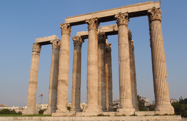 The temple of Zeus also known as Olympieion built in 174 BC in Athens, Greece.