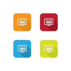 Colorful Flat Full HD 1080p Icons With Long Shadow