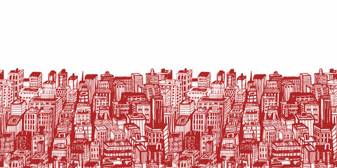 Horizontal banners of big city with skyscrapers. Hand drawn Vintage illustration with New York city NYC, cityscape with panoramic view of architecture, skyscrapers, megapolis, buildings, downtown.