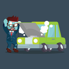 zombie businessman panicked broken car