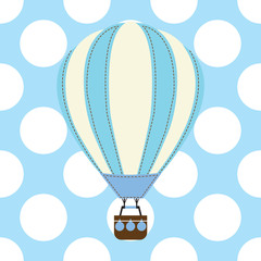 Baby shower card with cute hot air balloon on blue background suitable for baby shower postcard, nursery wall, and wallpaper