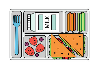 School lunch with a sandwich, fresh berries, vegetables and milk. Line style. Vector illustration.