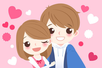 cute cartoon couple selfie