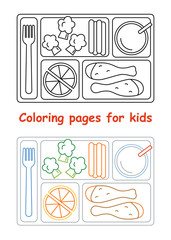 Coloring pages for kids. Lunch tray. Line style. Vector illustration