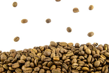 Coffee Border. Coffee beans frame isolated on white background