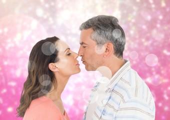 Romantic couple rubbing nose
