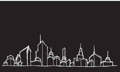 City skylines in cartoon doodle style on chalkboard background e