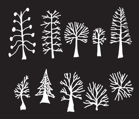 Vector Chalkboard Style Tree Silhouettes eps10