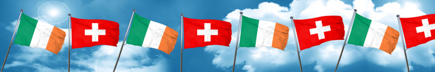 Ireland flag with Switzerland flag, 3D rendering