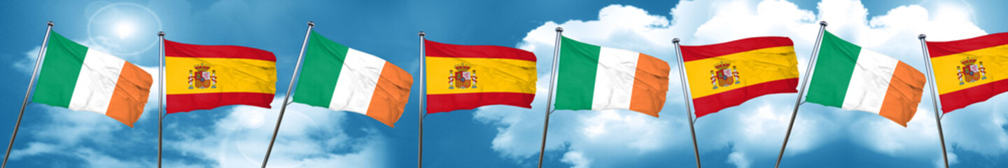 Ireland flag with Spain flag, 3D rendering