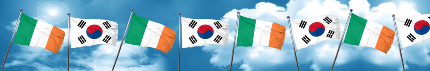 Ireland flag with South Korea flag, 3D rendering