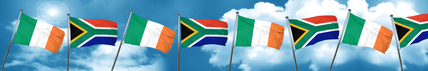Ireland flag with South Africa flag, 3D rendering