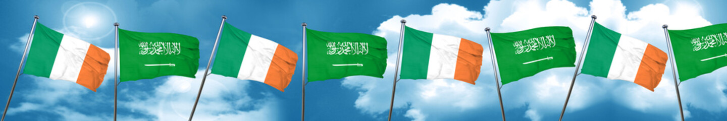 Ireland flag with Saudi Arabia flag, 3D rendering