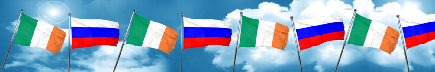 Ireland flag with Russia flag, 3D rendering