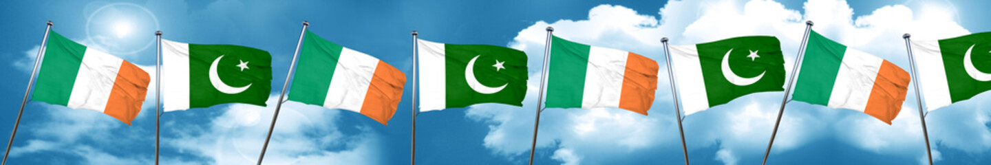 Ireland flag with Pakistan flag, 3D rendering