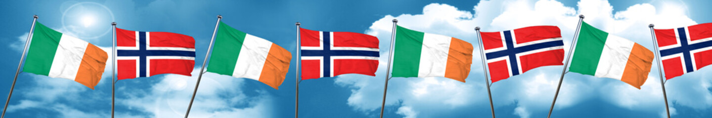Ireland flag with Norway flag, 3D rendering