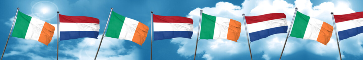 Ireland flag with Netherlands flag, 3D rendering
