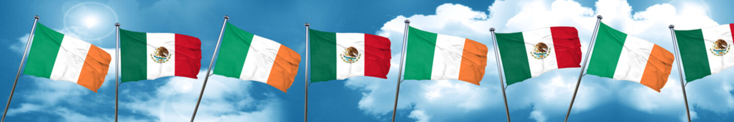 Ireland flag with Mexico flag, 3D rendering