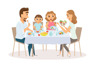 Family eating meal