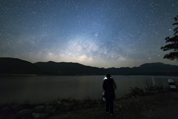 Photographer under the peaceful starry night sky background