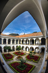 BOGOTA, COLOMBIA - APRIL 23: The interior courtyard of the Botero Museum in Bogota, Colombia on April 23, 2016.
