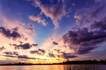 dramatic sunset sky on the river