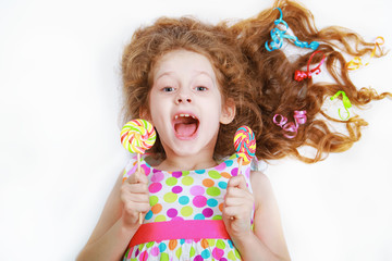 Surprised funny girl  hold candy lollipop. Healthy lifestyle con