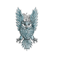Owl Swooping Wings Clock Gears Tattoo