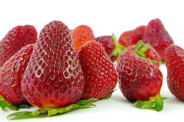 Fresh ripe strawberries photographed on a white background
