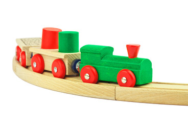Wooden toy colorful train isolated on white background