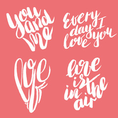 Handdrawn lettering of a love phrases