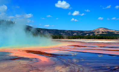 Grand Prismatic Spring during the day in the Midway Geyser Basin in Yellowstone National Park in Wyoming USA