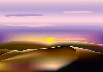vector landscape brown hill, violet sky and sun