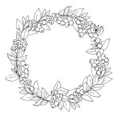 vector monochrome contour illustration of blueberry wreath
