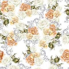 Bright watercolor seamless pattern with flowers roses and wildfl