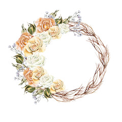 Beautiful watercolor wreath with flowers and buds of roses. Wedd