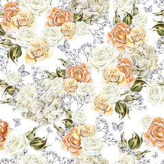 Bright watercolor seamless pattern with flowers roses, wild flowers and hydrangea. Illustration