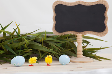 Colored easter eggs background with banner for yor text