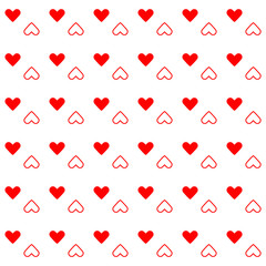 Red heart created pattern background