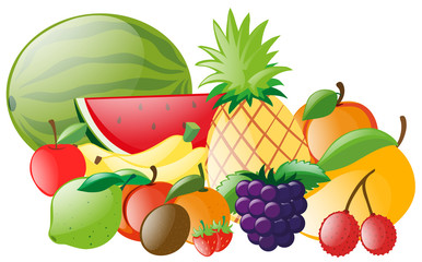 Different types of tropical fruits