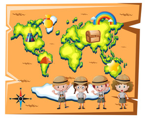 Kids in safari outfit and worldmap in background