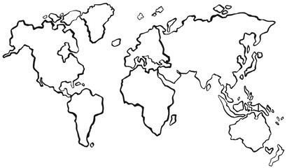 Draft of worldmap without color